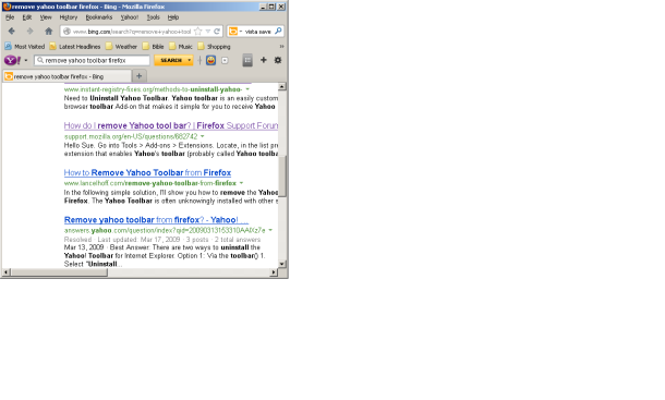 Firefox with Yahoo Toolbar after so-called Yahoo Toolbar Uninstall.